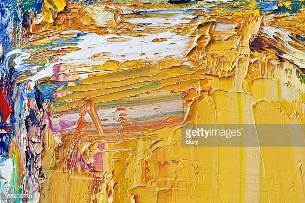 Abstrato Arte pintada de fundo amarelo.