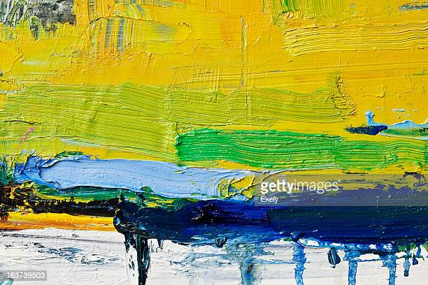 abstract painted yellow art backgrounds. - tempera painting stock pictures, royalty-free photos & images