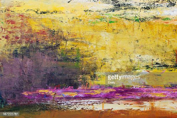 fundo abstrato arte pintada de amarelo. - pintura a óleo imagem pintada - fotografias e filmes do acervo