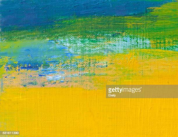 Abstrait jaune peint vert et bleu art arrière-plans.