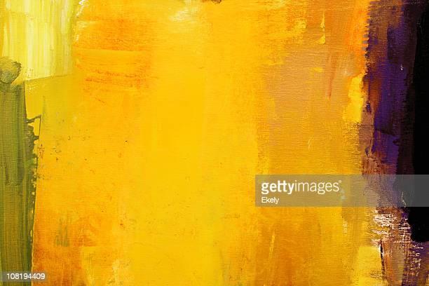 Abstrait jaune peint Peinture à l'huile.