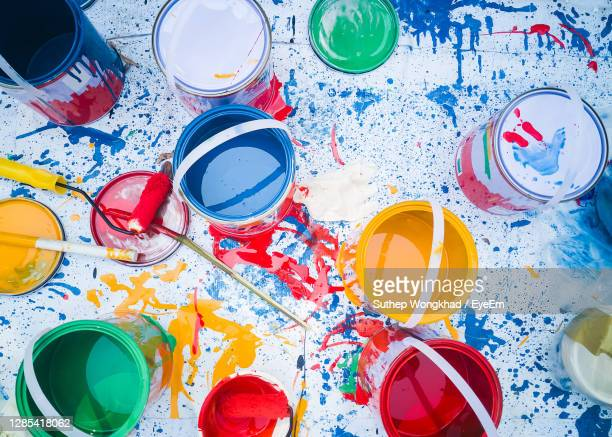 abstract pattern with multicolored oil paintings with brushes acrylic color top down. - tin can stock pictures, royalty-free photos & images