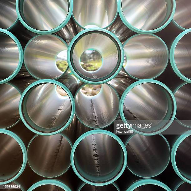 Abstract picture of PVC pipes arrangement