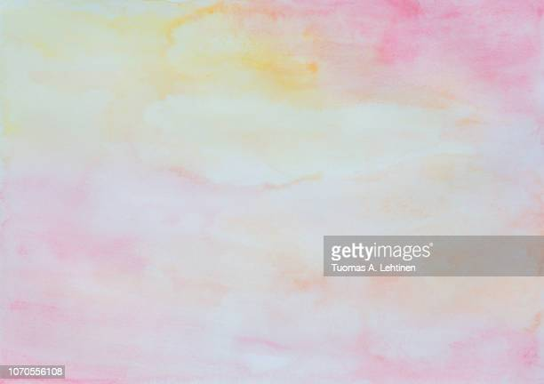 abstract pink, yellow and orange watercolor background - watercolor background stock pictures, royalty-free photos & images