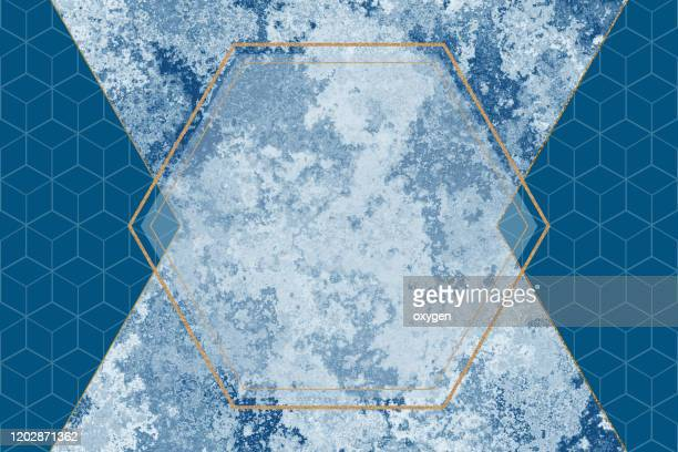 abstract polygonal geometric modern minimal classic blue gray background on marble texture and blue solid color. glitter hexagon frame fashion scene mockup - art deco stock pictures, royalty-free photos & images