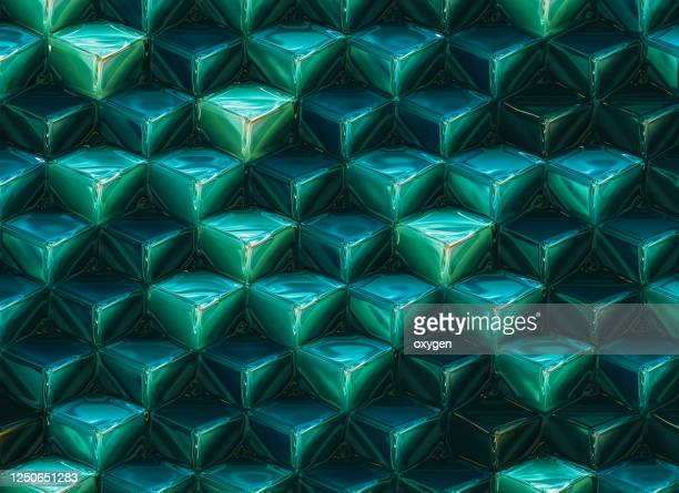 3d abstract polygonal green blue metallic cube shapes pattern backgrounds - esmeralda - fotografias e filmes do acervo