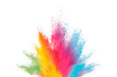 Abstract powder splatted background. Paint Holi.