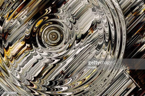 abstract radial circle distorted parallel lines yellow black white background. glitch texture geometric square shapes - parallel stock pictures, royalty-free photos & images