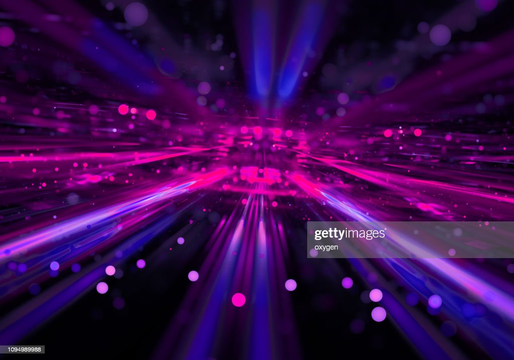 Abstract radial pink blue neon lights, bright colorful tunnel : Stock Photo