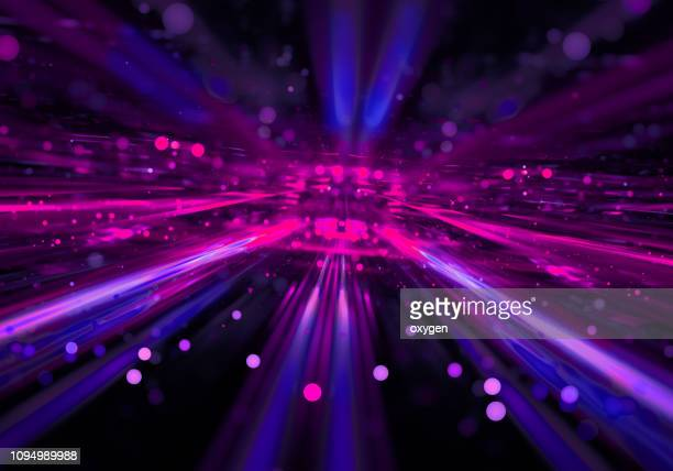 abstract radial pink blue neon lights, bright colorful tunnel - 画像効果 ストックフォトと画像