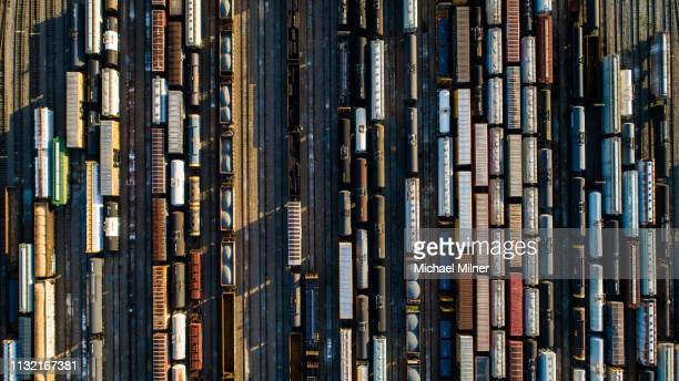 abstract rail yard - railroad stock pictures, royalty-free photos & images