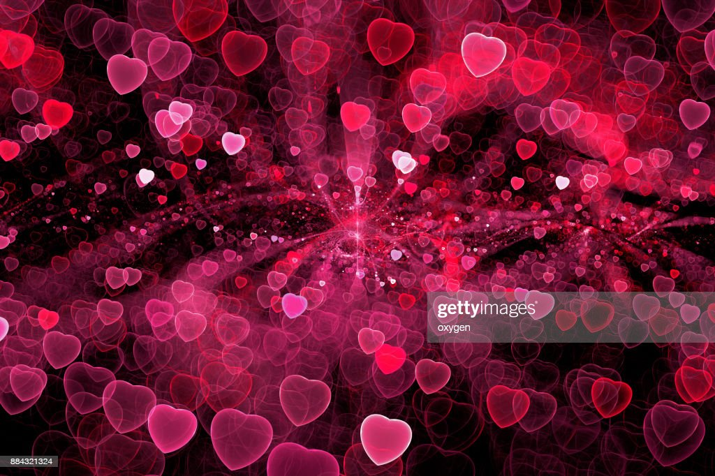 Abstract red heart bokeh sparkling spray circle : Stock Photo