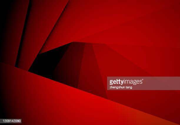 abstract red paper fan shaped stacking under lights - rosso foto e immagini stock