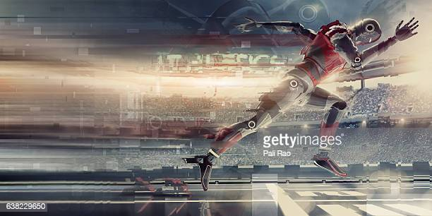 Abstract Robot Sprinting Athlete Bursting From Starting Blocks In Stadium