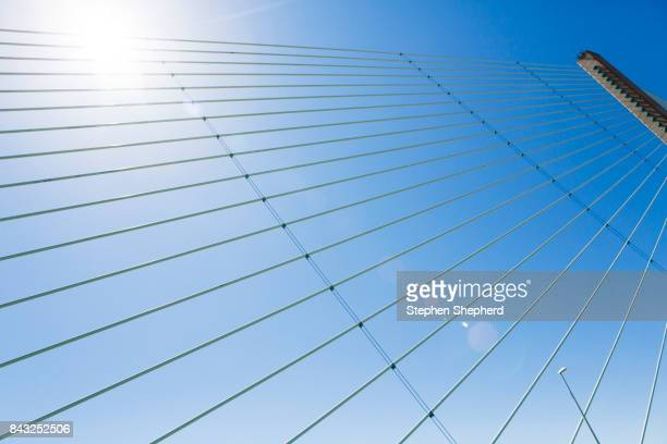 Abstract shapes of the road and cables on the River Severn bridge, Uk.
