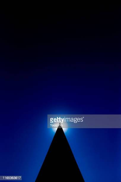 abstract silhouette of pyramid with sun - pyramid shape stock pictures, royalty-free photos & images