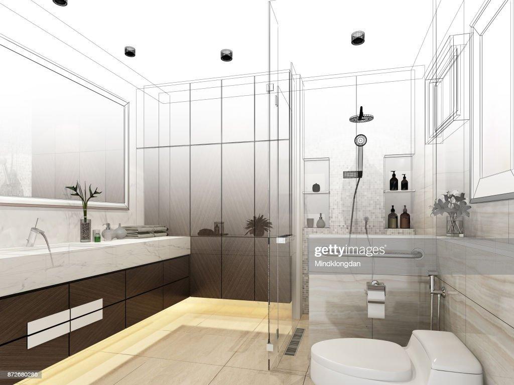 Abstract Sketch Design Of Interior Bathroom 3d Rendering Stock Photo ...