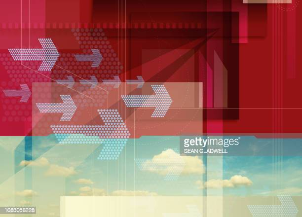 abstract sky and arrow composition - graphic print stock pictures, royalty-free photos & images