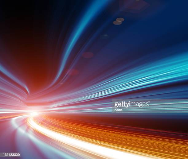 abstract speed motion in highway tunnel - light effect stock pictures, royalty-free photos & images