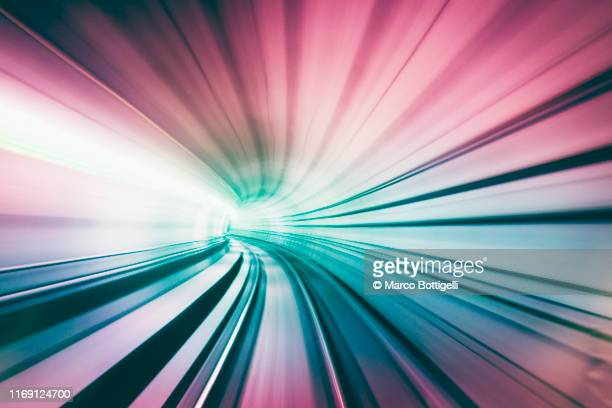 abstract speed motion in train tunnel - concept stock pictures, royalty-free photos & images