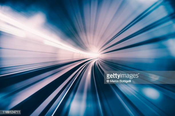 abstract speed motion in train tunnel - effektivität stock-fotos und bilder