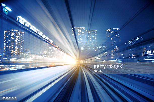 Abstract Speed motion in transparent train tunnel