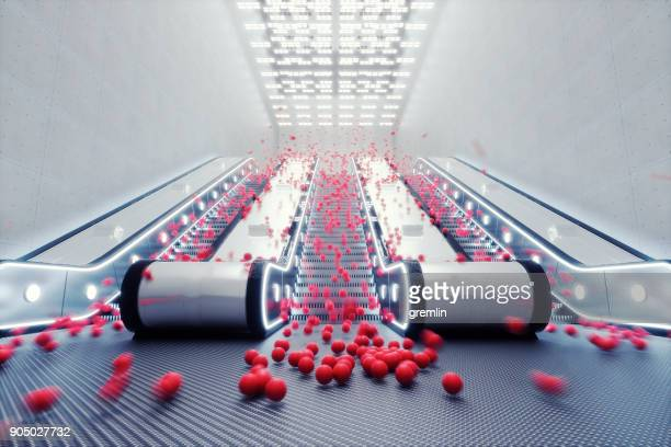 abstract spheres bouncing down the escalator - bouncing ball stock photos and pictures