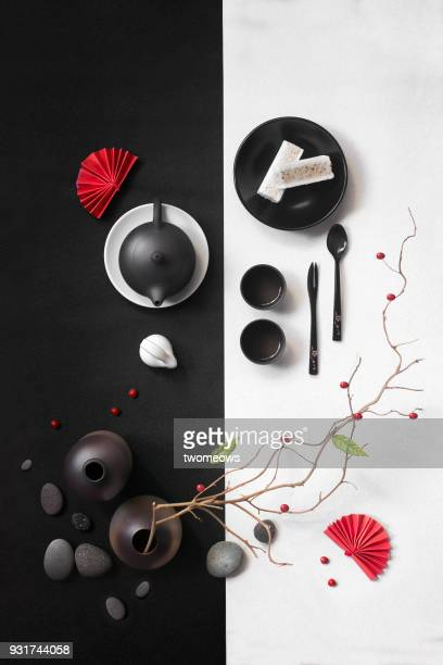 Abstract stylised image of east asian style tea time with snack.