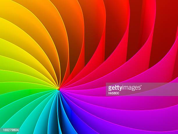 abstract swirl pattern of rainbow color spectrum - bright colour stock pictures, royalty-free photos & images