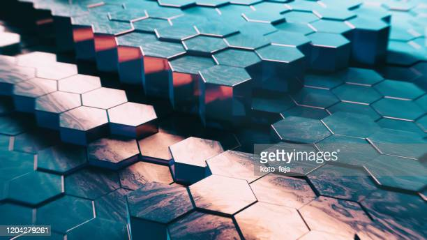 abstract technical 3d hexagonal background pattern - puzzle stock pictures, royalty-free photos & images