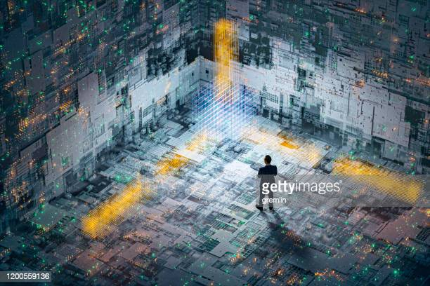 abstract technology background image with standing businessman - sfida foto e immagini stock