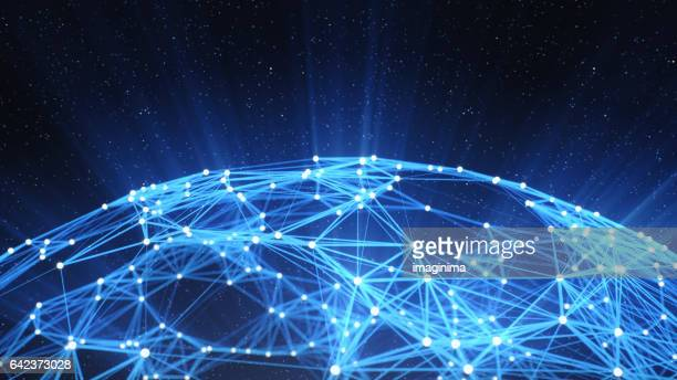 abstract technology network background - science and technology stock pictures, royalty-free photos & images