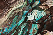 Abstract texture of oxidated copper in the copper mine.