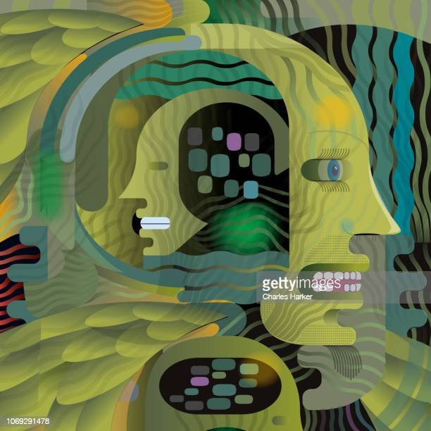 Abstract Thinking Digital Head Concept Illustration