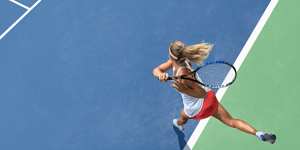 Abstract Top View Of Female Tennis Player After Serve 1026766054