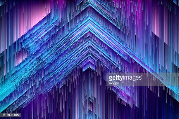 abstract triangle geometric shapes blue speed motion glitch textured fractal background - digitally generated image stock pictures, royalty-free photos & images