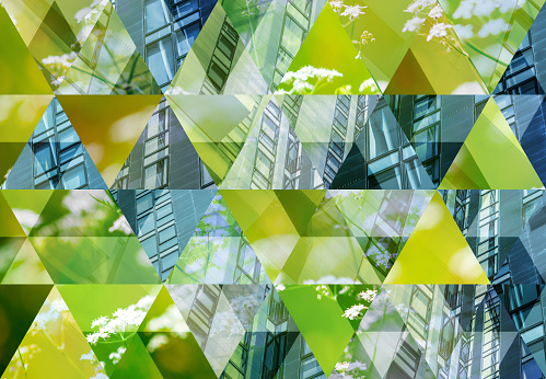 Abstract triangle mosaic background: Green Architecture 1124645001