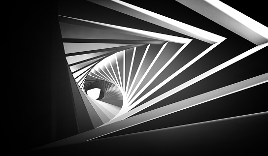 Abstract twisted black white tunnel 1153867292
