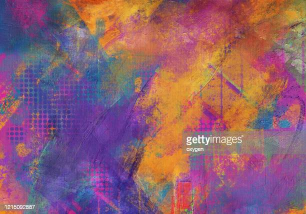 abstract vibrant multicolored texture background. digital illustration imitating oil painting on canvas - bunter hintergrund stock-fotos und bilder