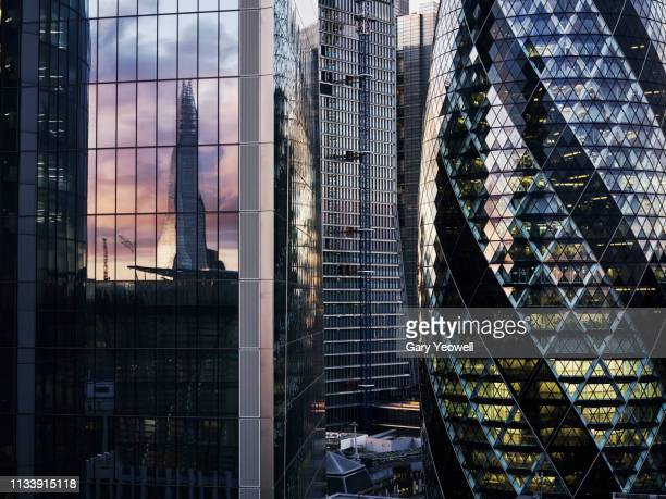 abstract view of london skyscrapers - downtown stock pictures, royalty-free photos & images