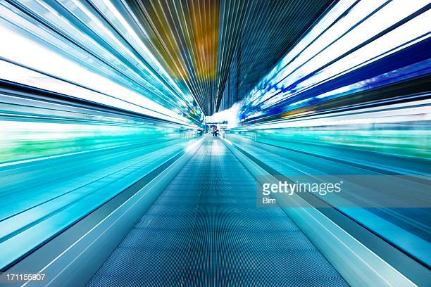 Abstract View of Moving Walkway in Airport Corridor