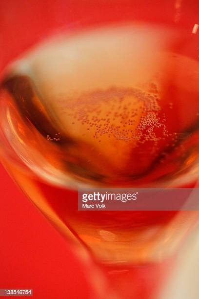 Abstract view of rose wine with clear view of bubbles