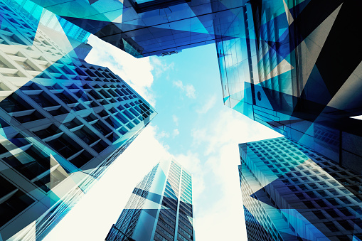 Abstract View of Urban Scene and Skyscrapers high tech business background - gettyimageskorea