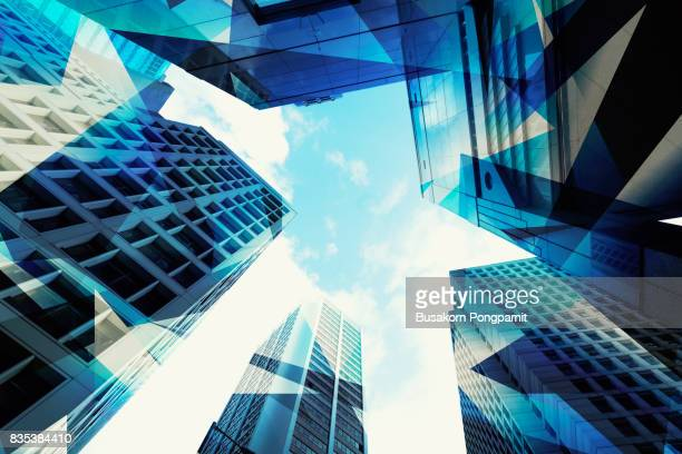 abstract view of urban scene and skyscrapers high tech business background - image stock pictures, royalty-free photos & images