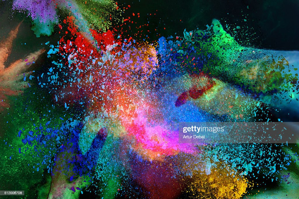 Abstract view with inverted colors of the colorful Holi celebration with powder splash. : Stock-Foto
