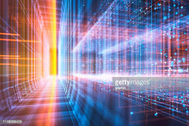 abstract virtual reality display - tunnel stock pictures, royalty-free photos & images
