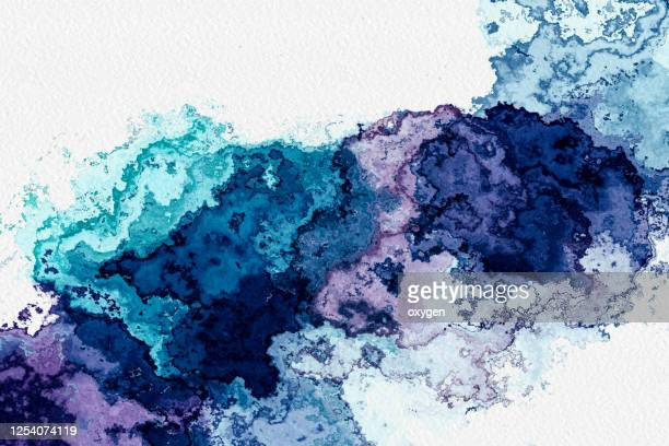 abstract watercolor gradient blue purple digital background in blue color. - ティール色 ストックフォトと画像