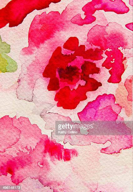 Abstract watercolour flowers hand painted