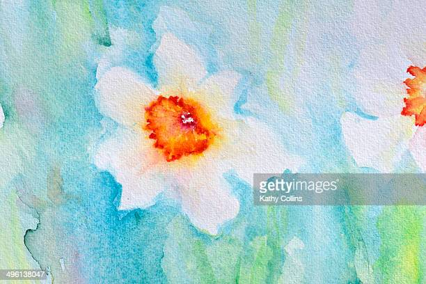 Abstract watercolour flowers