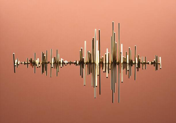 Abstract waveform made out of golden bars